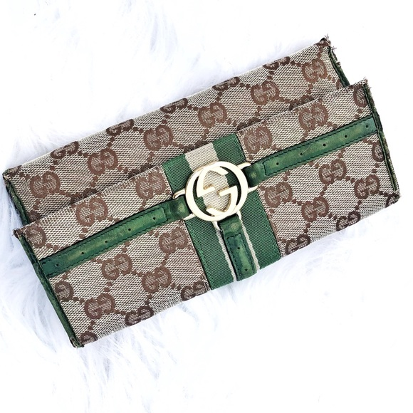 454d56768133 Gucci Handbags - Authentic Gucci GG Green Leather Tri-fold Wallet